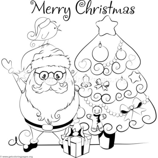 cartoon christmas tree and santa claus coloring pages