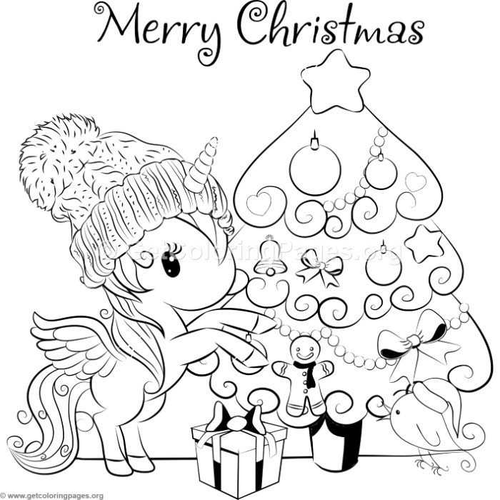 Cartoon Christmas Tree and Unicorn Coloring Pages ...
