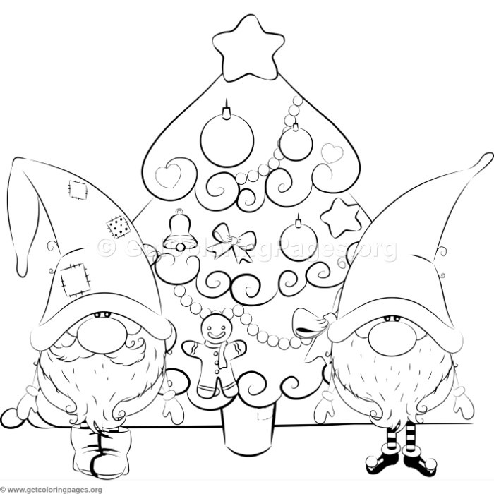 cartoon christmas tree with santa claus and elf coloring pages