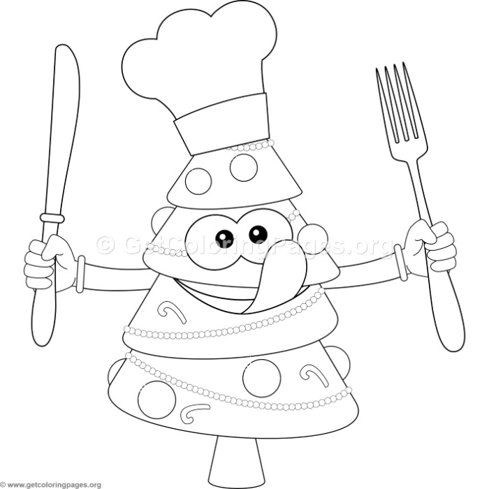 christmas tree with fork knife big tongue coloring pages