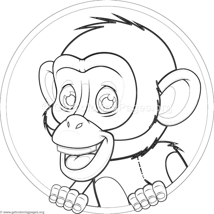 Cute Baby Chimpanzee Coloring Pages