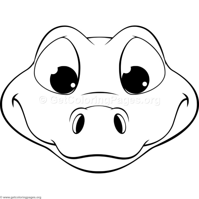 Cute Crocodile Head Coloring Pages
