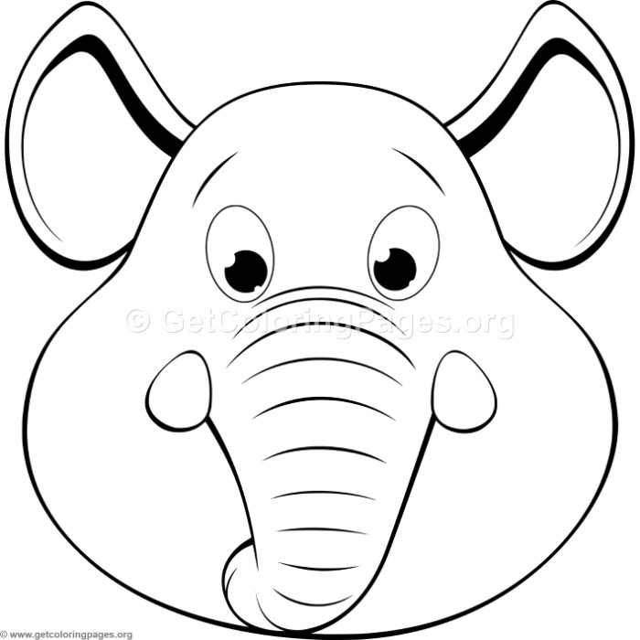 Cute Elephant Head Coloring Pages