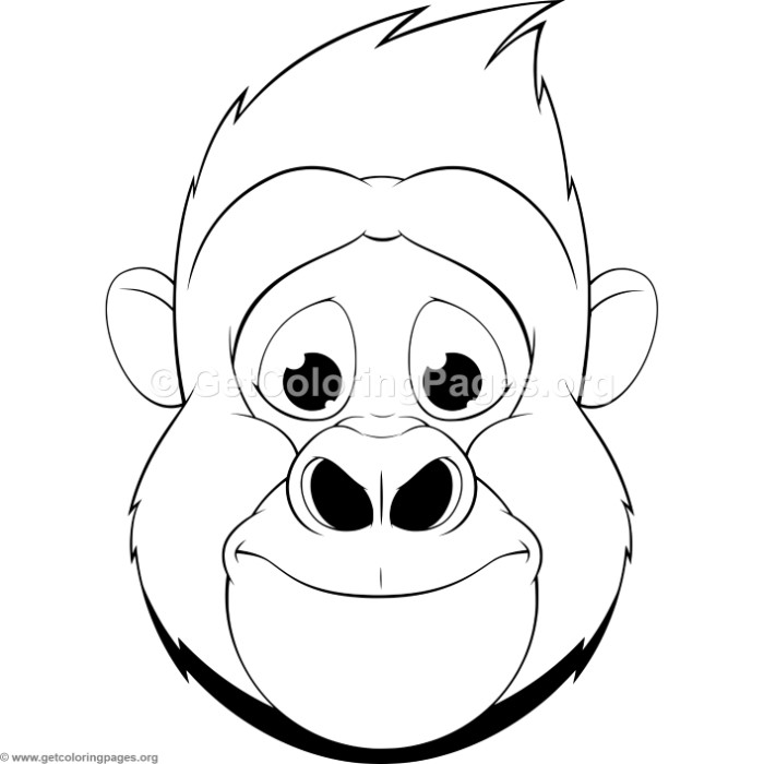 Cute Gorilla Head Coloring Pages