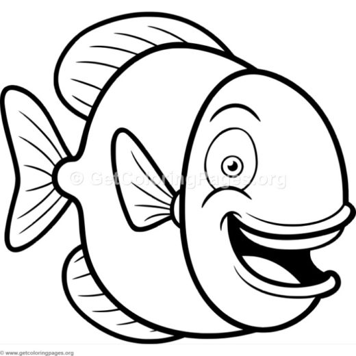 Cute Happy Fish Coloring Pages