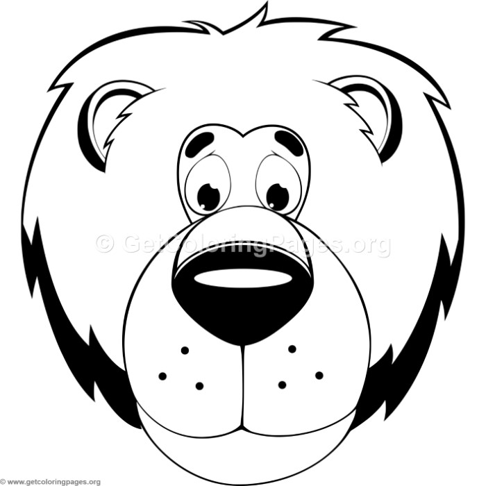 Cute Lion Head Coloring Pages