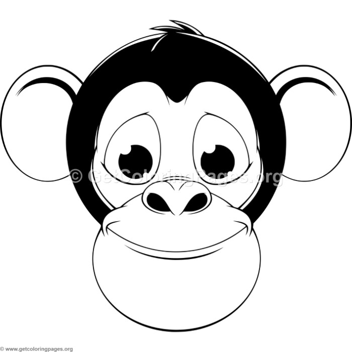 Cute Monkey Head Coloring Pages