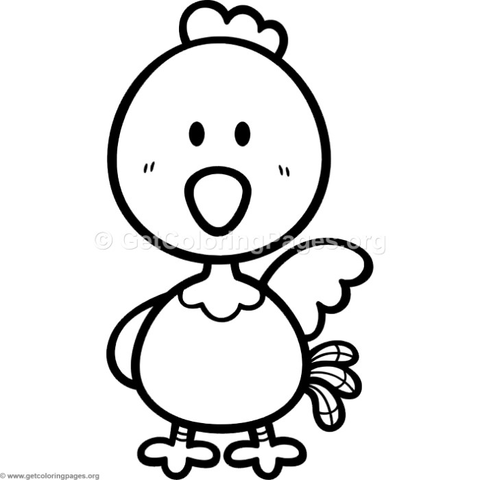 Little Cute Cartoon Chicken Coloring Pages – GetColoringPages.org