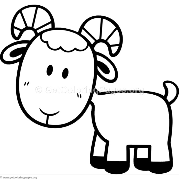 Little Cute Cartoon Goat Coloring Pages GetColoringPagesorg