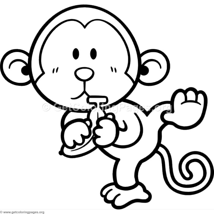 Little cute cartoon monkey coloring pages for Cartoon monkey coloring pages