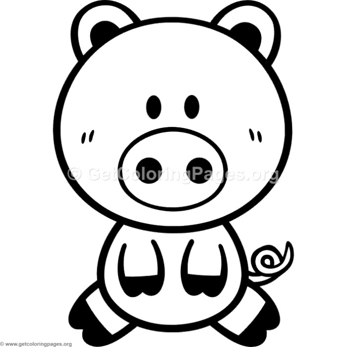 Little Cute Cartoon Pig Coloring Pages - GetColoringPages.org