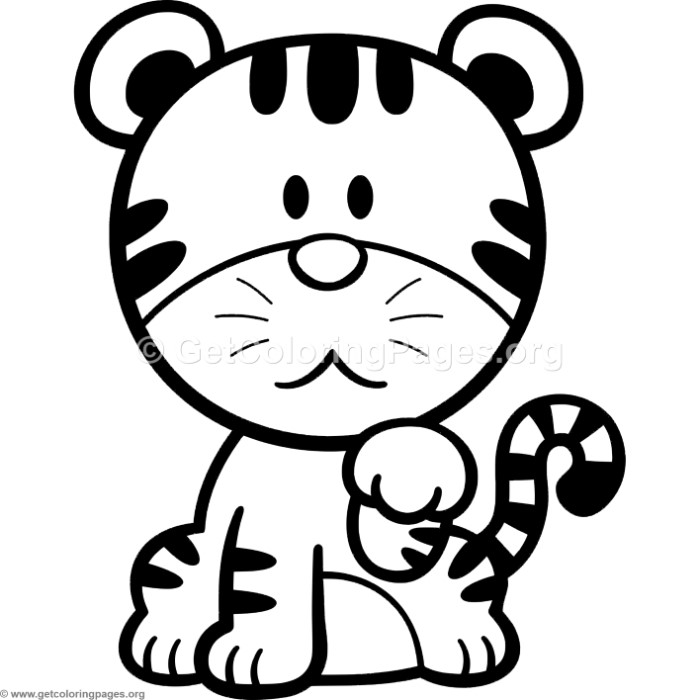 Little Cute Cartoon Tiger Coloring Pages