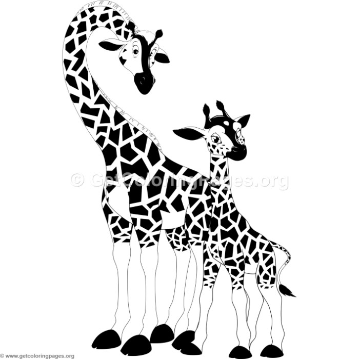 Mother Giraffe and Baby Coloring