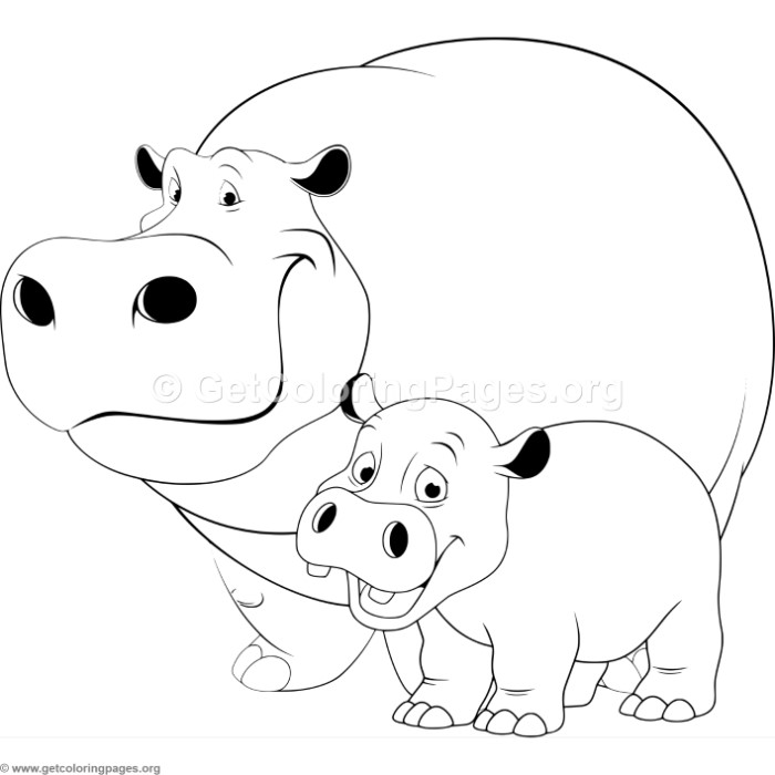 Mother hippopotamus and baby coloring pages for Baby hippo coloring pages