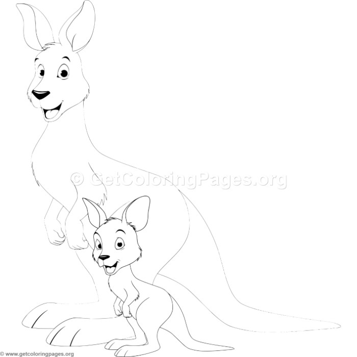 Mother Kangaroo With Baby Coloring Pages