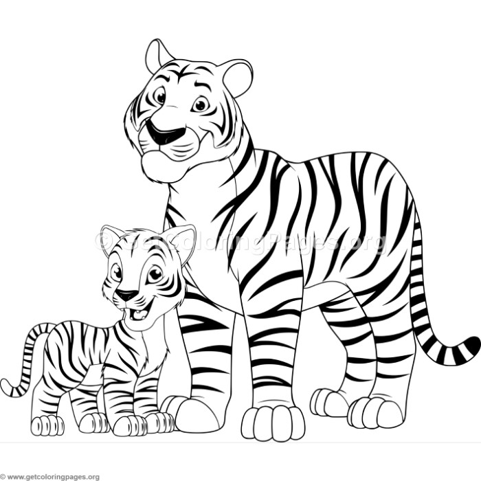 Mother Tiger and Cub Coloring Pages
