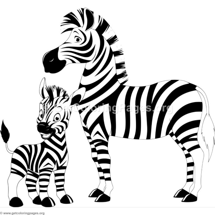Mother Zebra With Baby Coloring Pages