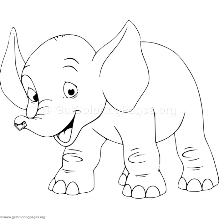 adorable cartoon elephant 2 coloring pages - Cartoon Pictures To Colour
