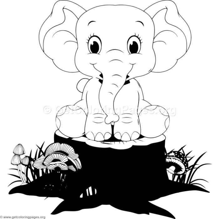 Adorable Cartoon Elephant 5 Coloring Pages