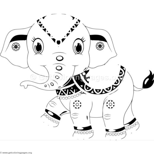 Adorable Cartoon Elephant 6 Coloring Pages