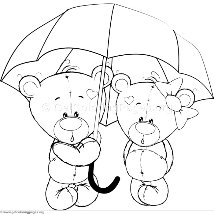 Cartoon Animal Romantic Bears Couple