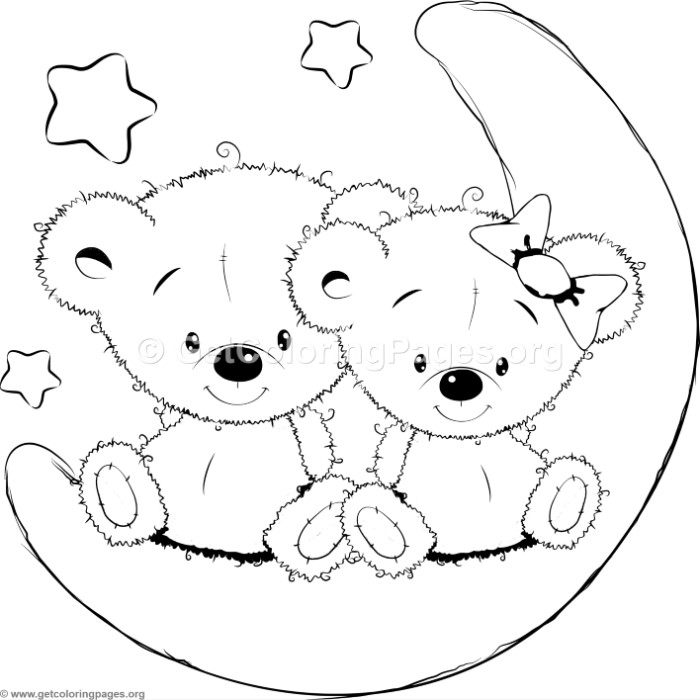 Cartoon Animal Romantic Bears Couple in Love and Stars Coloring ...