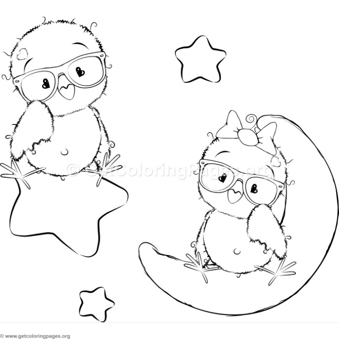 cartoon animal romantic couple in love cute birds coloring pages