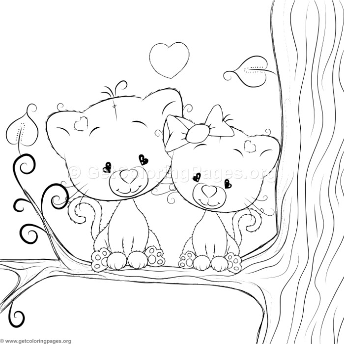 Cartoon Animal Romantic Couple in Love Cute Cats Coloring Pages ...