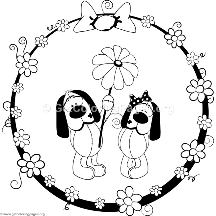Cartoon Animal Romantic Couple in Love Cute Dogs Coloring Pages ...