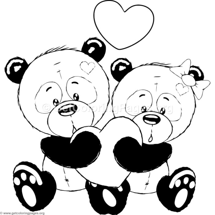 Cartoon Animal Romantic Couple in Love Cute Pandas Coloring Pages ...