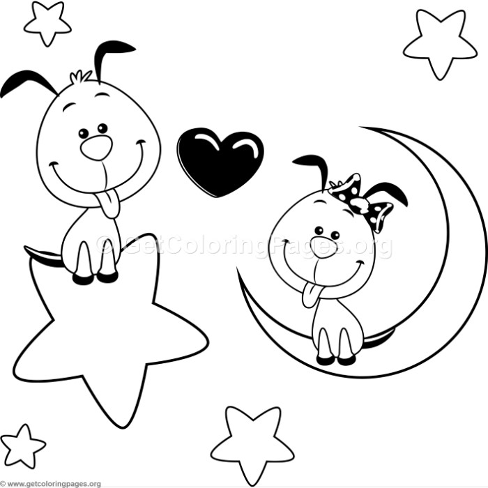 cartoon animal romantic couple in love cute small dogs coloring pages