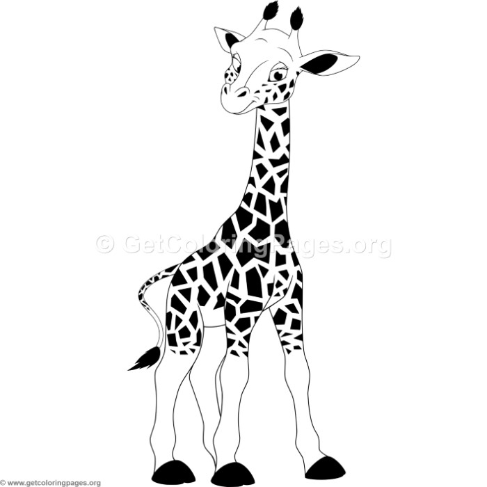 Cartoon Baby Giraffe Coloring Pages