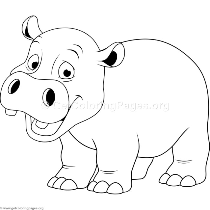 Cartoon baby hippo coloring pages for Baby hippo coloring pages
