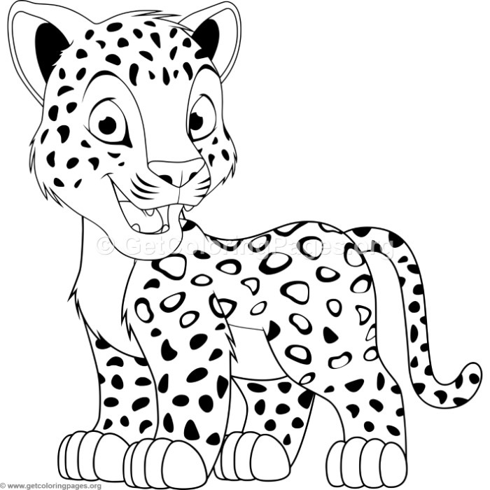 Attractive Cartoon Baby Leopard Coloring Pages