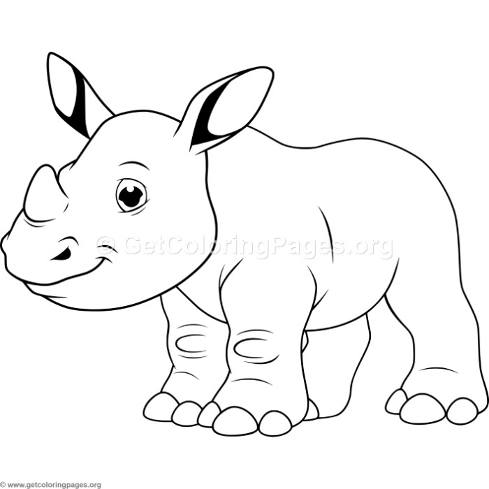 cartoon baby rhino coloring pages
