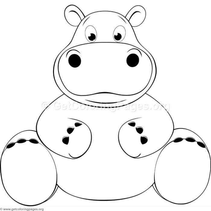 Cartoon Hippo Coloring Pages