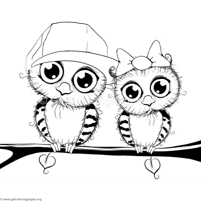 Cute Cartoon Owl Couple On A Tree Coloring Pages Getcoloringpages Org