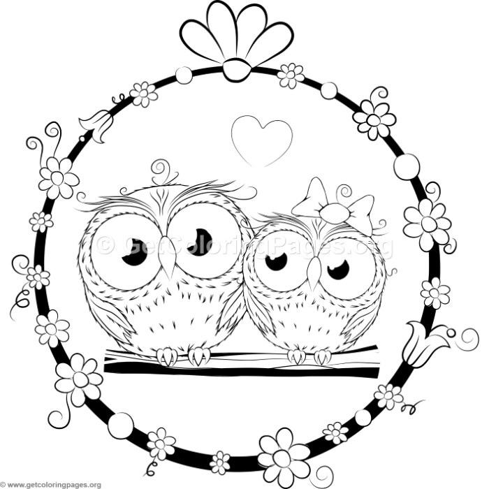 Cute Cartoon Owl Couple Coloring Pages