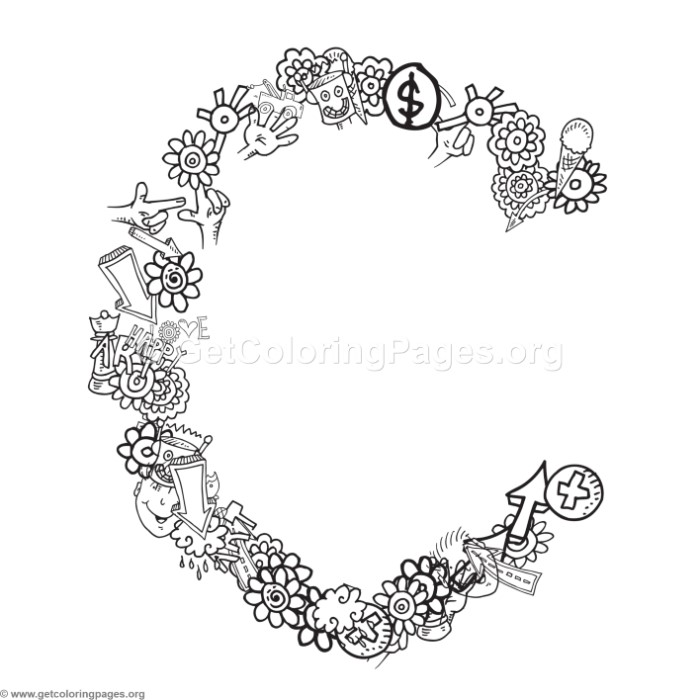alphabet doodles coloring page letter c getcoloringpages org