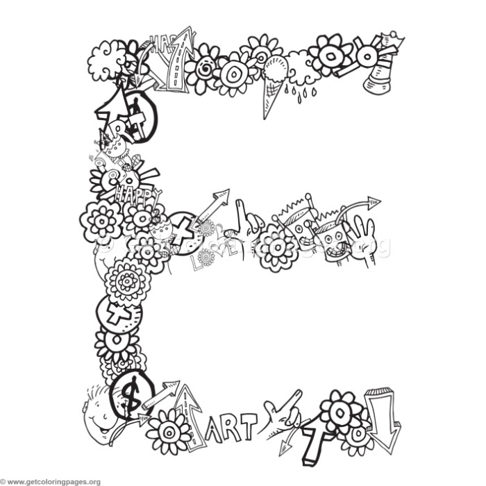 alphabet doodles coloring page letter e – GetColoringPages.org