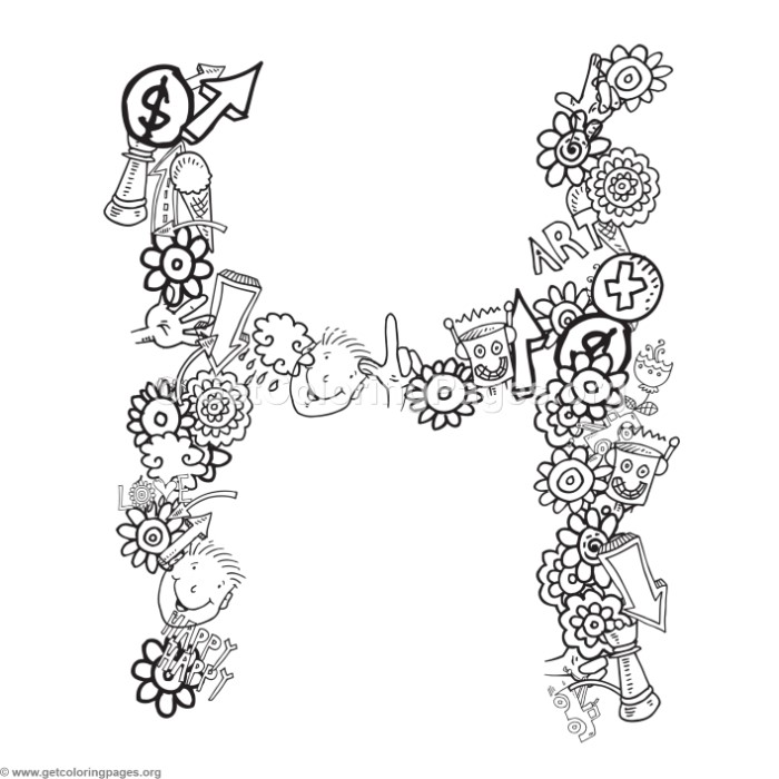 Doodle Alphabet Letter H Coloring Pages