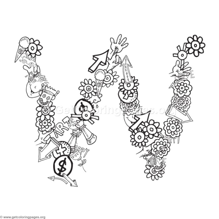 doodle alphabet letter w coloring pages getcoloringpages org