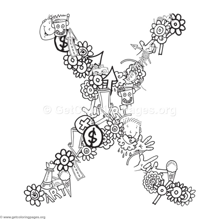 alphabet doodles coloring page letter x – GetColoringPages.org