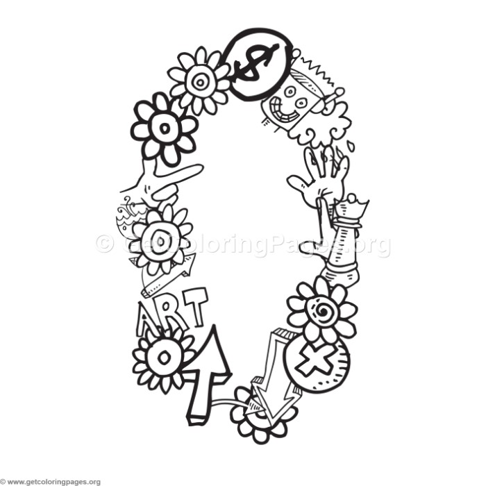 Doodle Number Zero Coloring Pages