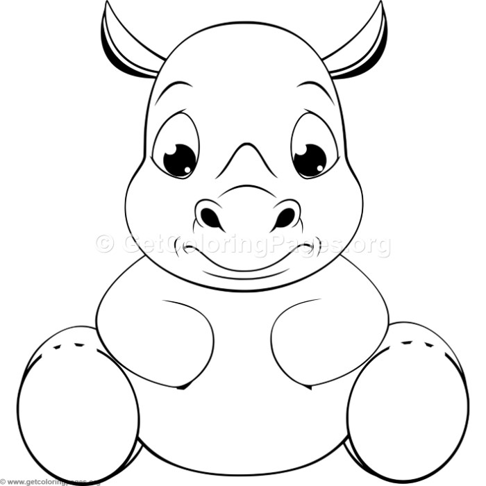 Funny Baby Rhino Coloring Pages