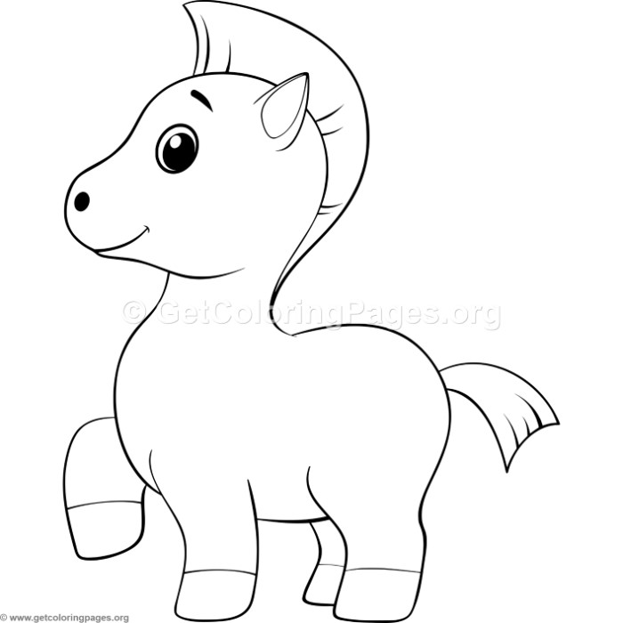 Simple Cartoon Horse Coloring Pages