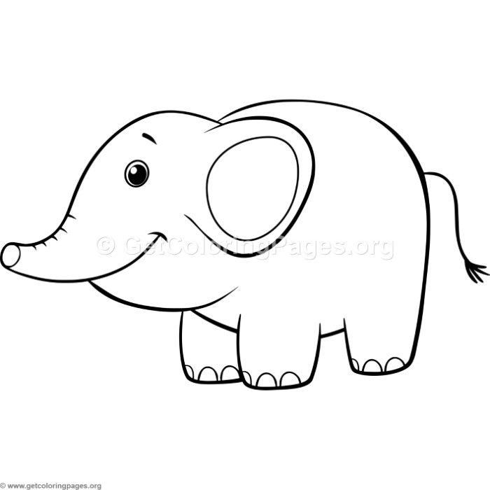 Simple Cute Cartoon Elephant Coloring Pages