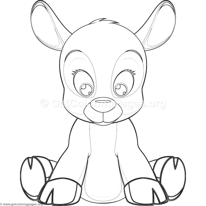 Simple Cute Cartoon Fawn Coloring Pages GetColoringPages