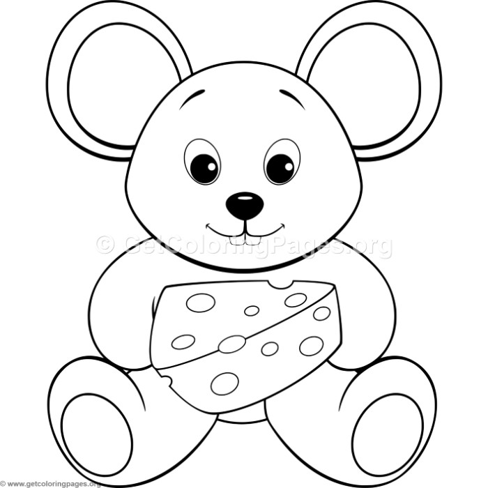 Simple Cute Cartoon Mouse Coloring Pages