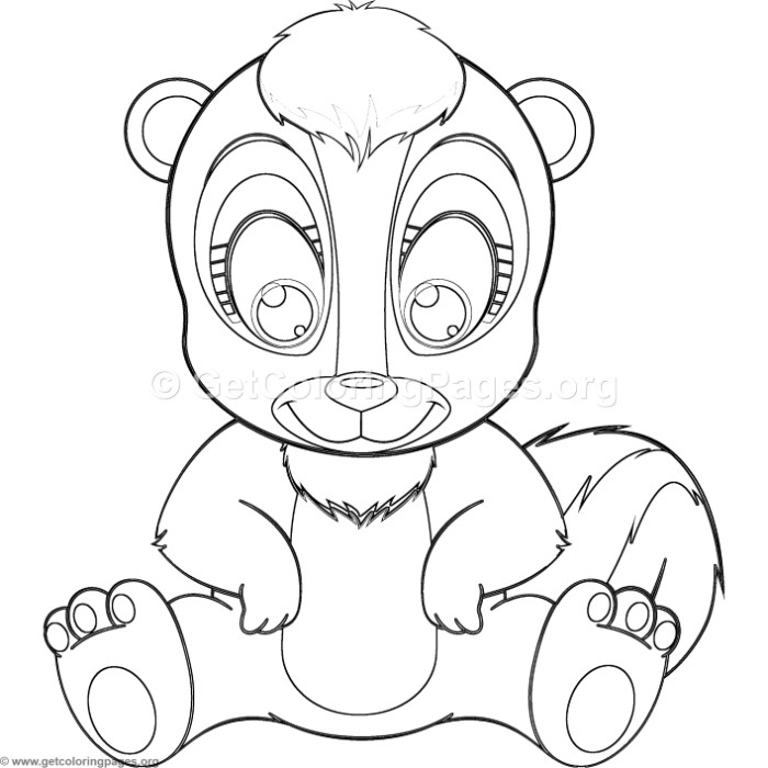 Simple cute cartoon skunk coloring pages for Coloring page of a skunk